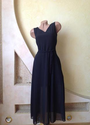 Черное шифоновое платье миди. смотрите мои объявления!