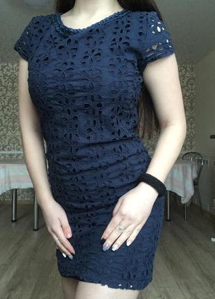 Прекрасное темно синее платье, сзади на олнии продажа срочно