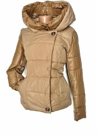 Коротенькая курточка на весну стёганная со вставками кожзама куртка