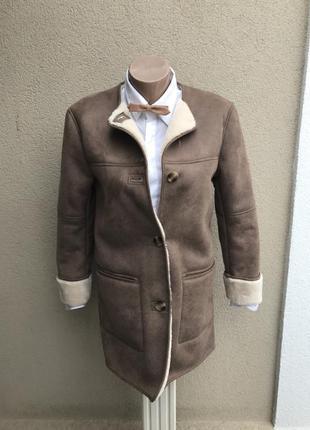 ,теплая дубленка под замшу,куртка,шубка,пальто на меху,zara,маленький размер