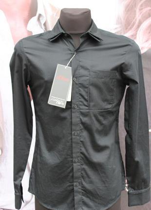Крутая черная рубашка с длинным рукавом s.oliver