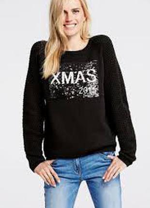 Черный свитер с шерстью в белых паетках ,l