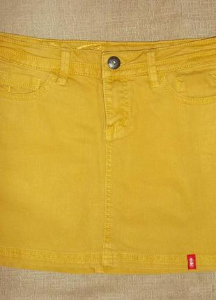 Юбка короткая джинсовая горчичного цвета - р. xs -edc германия