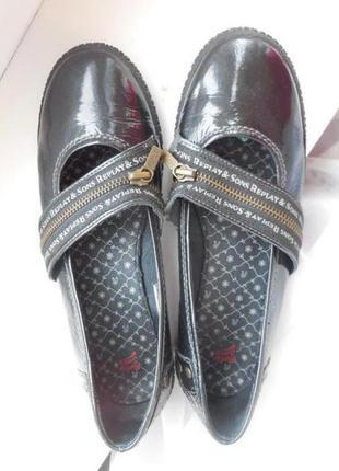 Кожаные туфли чёрные replay балетки лаковые 39р -25 см