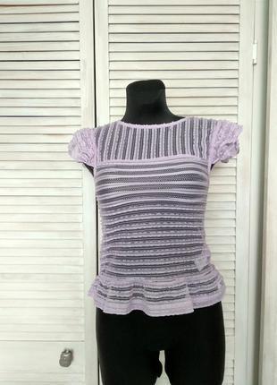Блуза з рюшами прозора bik bok кружево bikbok лавандового кольору
