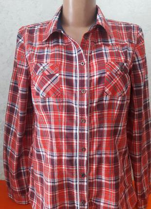 Рубашка блуза красная клеточка котоновая tally weijl