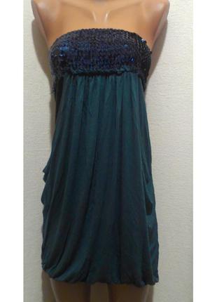 """Платье-бюстье с пайетками цвета морской волны """"george"""""""