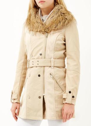 Красивоя удлиненная утепленная кожаная куртка, пальто river island 12р