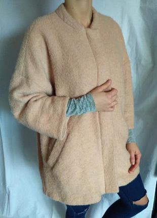 Красивое пудровое пальто от river island кокон оверсайзд oversized рукав 3/4