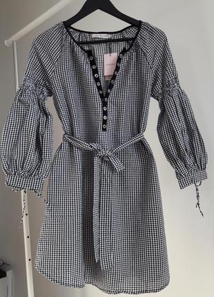 Платье в клетку с рукавами-фонариками s, m, l
