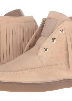 Весенние бежевые ботинки мокасины nine west
