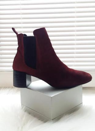 Zara basic стильные ботинки 38рр тренд полусапожки ботильоны челси бордо кожа