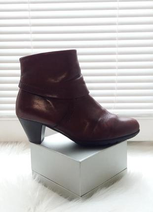 Gabor португалия кожаные коричневые ботинки 39р ботильоны низкий средний каблук весна