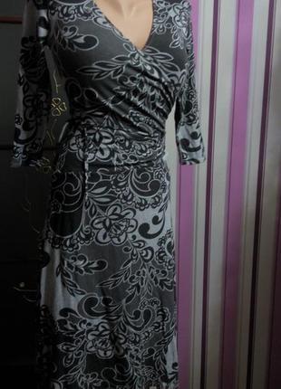 Платье миди бюстье офисное 46 48 размер принт топ лук скидка распродажа