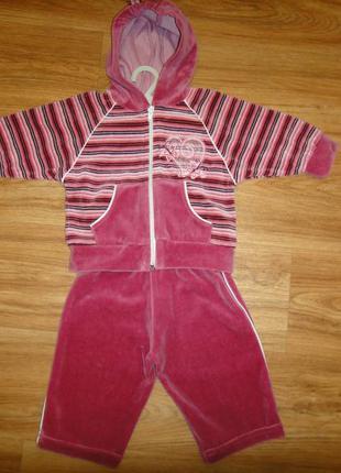 Костюм, костюмчик, кофточка, штаны на девочку р. 68 (4-7 мес) хлопок