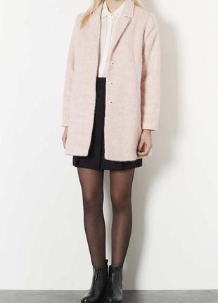 Актуальное нежно-розовое шерстяное пальто topshop бледно-розовое