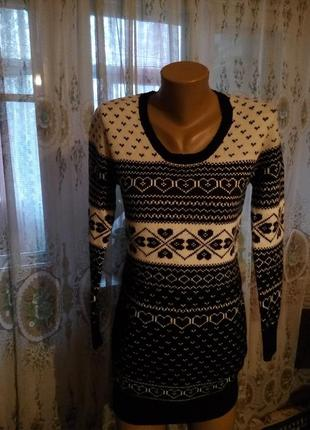 Теплое вязаное платье, туника new look англия на 44-46