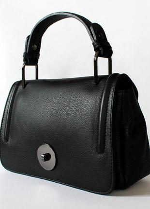 Итальянская черная кожаная (кожа) сумка, италия