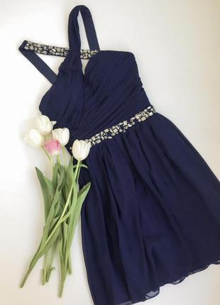 Тёмно синее коктейльное платье с камнями/ пышное выпускное / navy blue