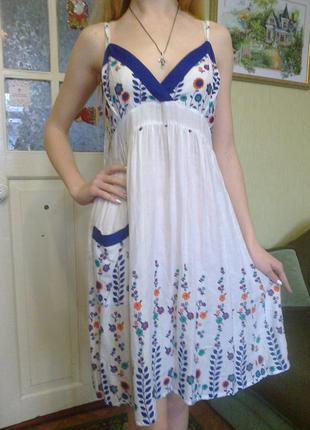 Красивенный яркий нежный сарафан, платье, коттон