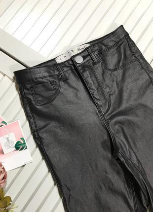 🌿 брюки с напылением под кожу высокая посадка от denim co2