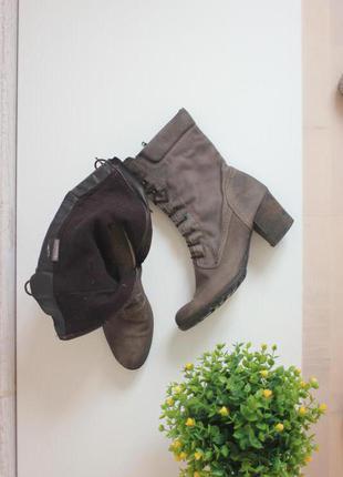 Кожаные сапоги ботинки полусапожки, натуральная кожа нубук, бренд tamaris