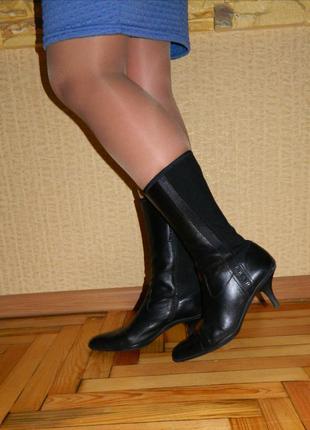 Сапоги женские чёрные демисезонные натуральная кожа на каблуке prada р. 37