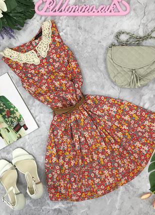 Легкое платье с цветочным принтом и гипюровым воротничком  dr180787  new look