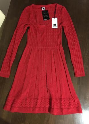 Missoni оригинал италия красное трикотажное шерстяное платье
