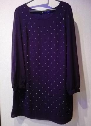 Платье прямого покроя с заклепками
