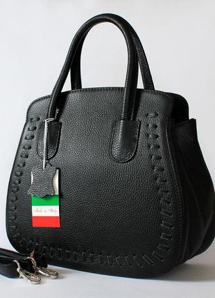 Большая кожаная (натуральная кожа) итальянская черная сумка, италия