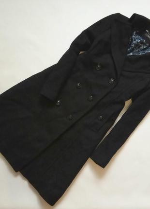 Длинное шерстяное пальто трапеция темно синего цвета