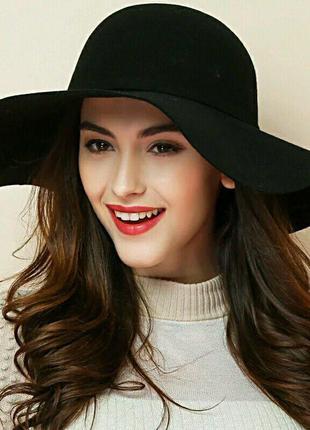 Чёрная шляпа шляпка капелюх с широкими полями