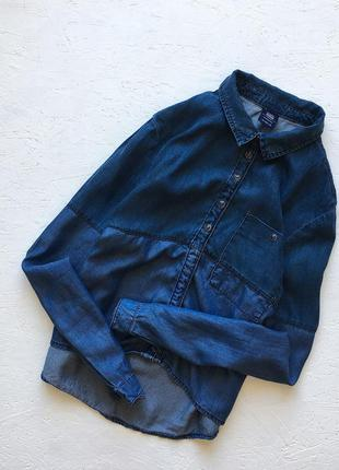 Комбинированая рубашка bershka джинсовая рубашка