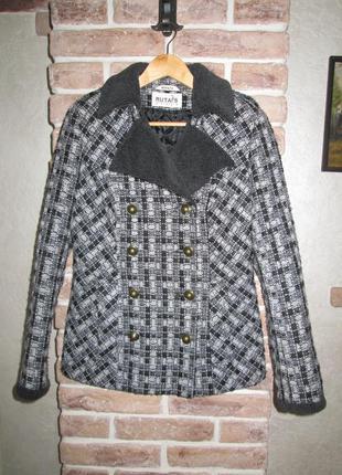 Короткое пальто/бушлат(утепленное) из буклированной ткани
