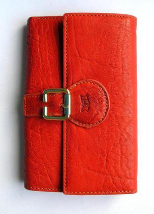 Яркий красный кожаный кошелек, 100% натуральная кожа.