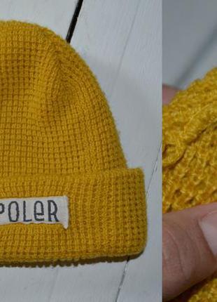 Полная распродажа!!! классная вязаная шапка горчичного цвета poler made in usa