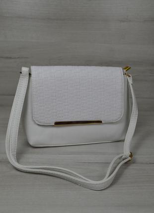 39e044ec0574 Белая маленькая сумка через плечо кросс боди с клапаном, цена - 310 ...