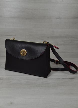 Черная маленькая сумка-клатч через плечо  кросс боди с красными торцами