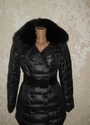 Куртка-пальто с натуральным мехом.