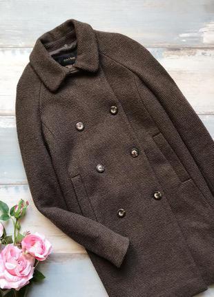Коричневое шерстяное пальто zara