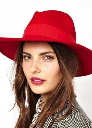 Красная широкополая шляпа с широкими полями h&m, 100% шерсть