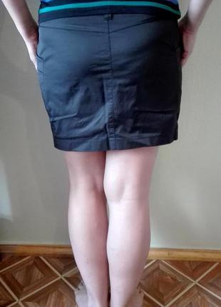 Стильная атласная юбка с карманами sela размер м, офис, школа2