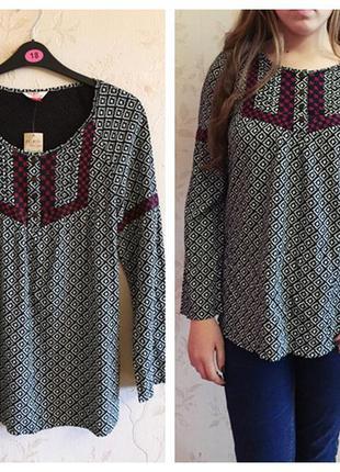Новая вискозная блуза с вышивкой matalan, 46 -48 размер/ этно, бохо стиль