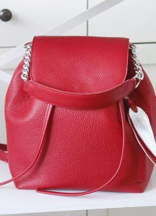 Рюкзак-сумка красного цвета из натуральной кожи