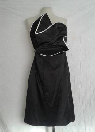 Черное атласное платье- бюстье, xxl