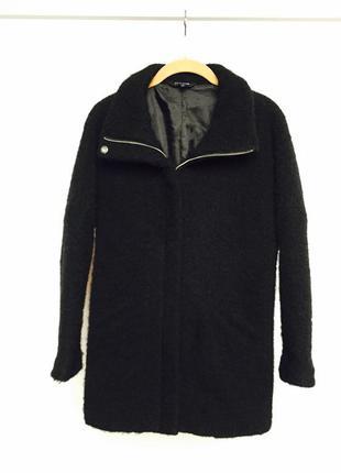Актуальное теплое шерстяное пальтишко на молнии с длинным рукавом оверсайз