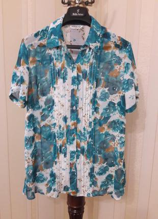 Воздушная шифоновая яркая блуза цветочный принт