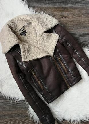 Темно-коричневая дубленка-косуха 125422 topshop размер uk8 (s) куртка
