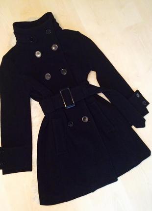 Классическое элегантное чёрное пальто с поясом шерсть zarа